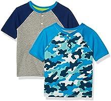 Amazon Essentials Boys Short-Sleeve Henley T-Shirts