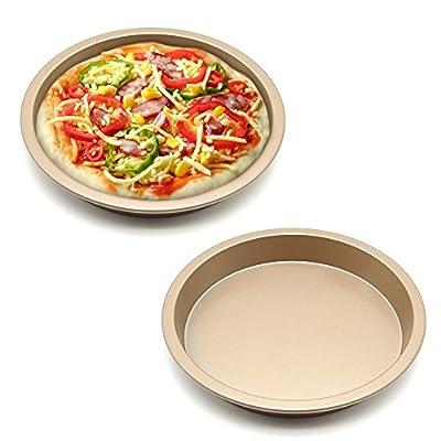 MZCH Non-Stick Quiche Tart Pan, Tart Pie Pan, Round Pizza Pan, Gold