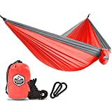 Greenlight Outdoor Camping Single Hammock - Lightweight Parachute Portable Hammocks for Hiking, Travel, Backpacking, Beach, Yard Gear Includes Nylon Straps & Steel Carabiners