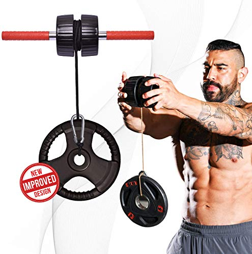 DMoose Fitness Wrist Exerciser, Forearm Blaster, and Strength Trainer, Hand Grip Foam Roller Home Gym Equipment