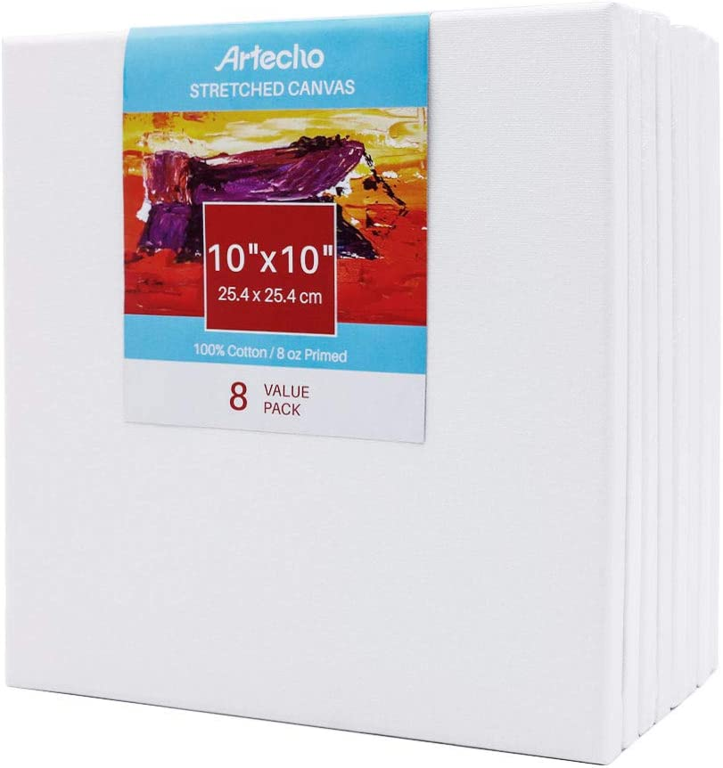 Artecho 10x10 Stretched Canvas for Painting Acrylic Pouring Oil Paint /& Artist Media White Blank 8 Pack Primed 100/% Cotton