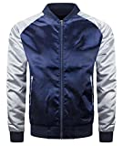 ALMAS APPAREL Mens Hipster Hip Hop Slim Fit Satin Flight Jacket (Small, Navy-Silver)