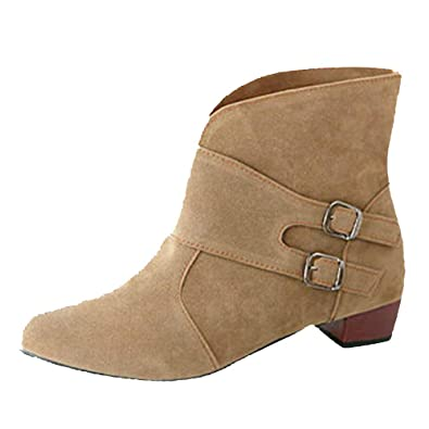 Zapatos con Punta Redonda para Mujer Tacones Cuadrados Martin Botines Botas 24hrs Baile Invierno mujeies (