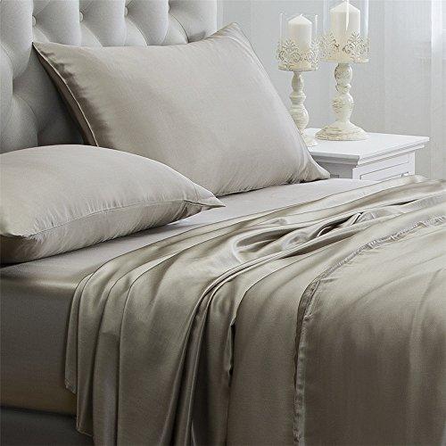 Orose 4Pcs 100% Charmeuse Mulberry Silk Bed Sheet Set Seamless Deep Pocket  (Queen,