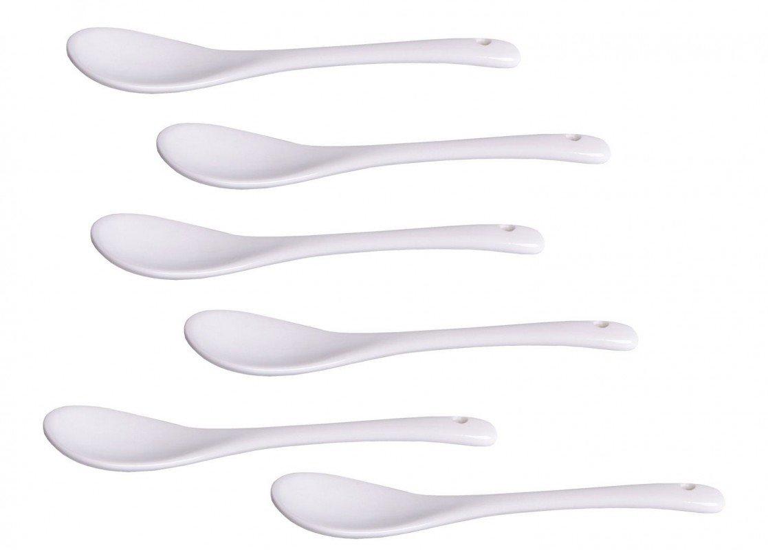 Quantio 6 mini coffee spoons/egg spoons, white porcelain.