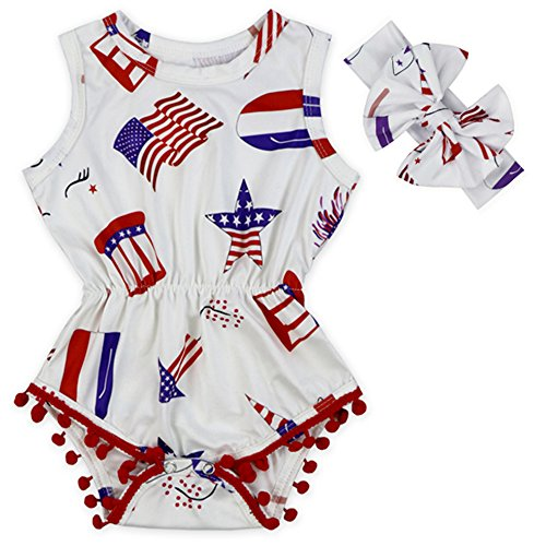 Anbaby Baby Girls Sleeveless Pom Pom Romper Various Patterns Floral Bodysuit Clothes (Star Stripes, L/12-24Months)