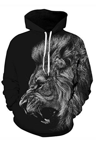 Haloon Women's 3D Digital Printed Big Pocket Hoodies Plus Velvet Roaring Lion XXL for $<!--$22.78-->