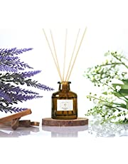 Pristine Shangri-la Inspired Hotel Reed Diffuser | Reed Diffuser Stick with oil 50ml | Scented Diffuser with Notes of Lavender, Moroccan Amber | Oil Diffuser with Black Fiber Sticks, Home Fragrance