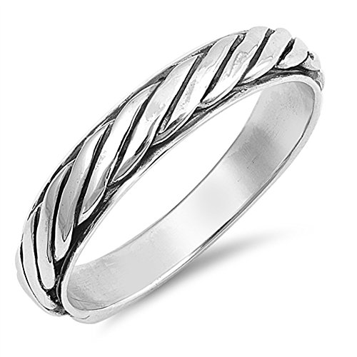 Rope Eternity Twisted Thumb Ring New .925 Sterling Silver Band Size (Rope Thumb Ring)