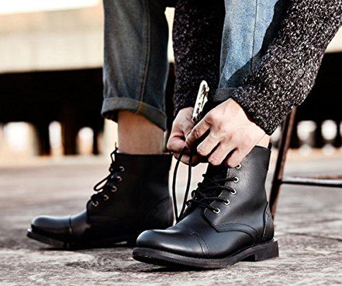 Insun Mens Äkta Läder Moto Oxford Boots Svart