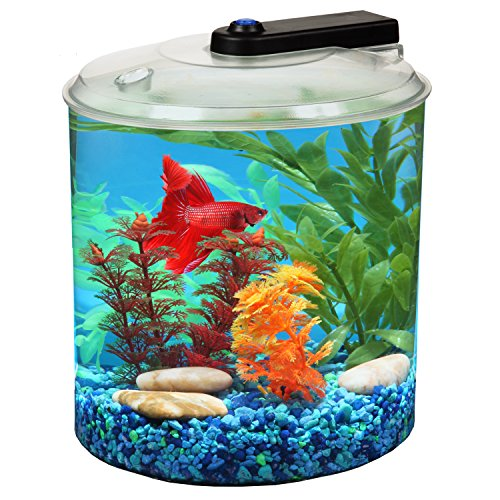 Koller Products AquaScene 1.5 Gallon 360 Fish Tank with LED Lighting by Koller Products