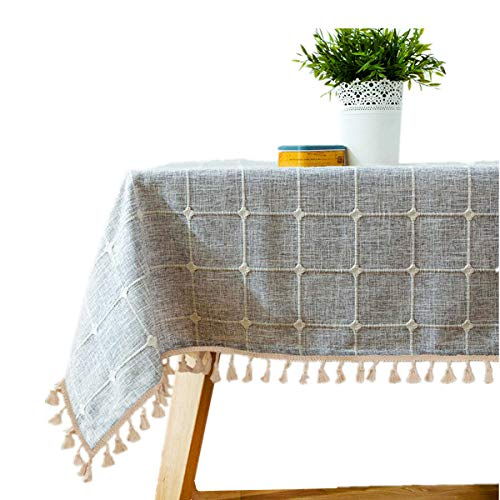Bettery Home Cotton Linen Rectangular Tablecloth Tassel Plaid Table Cloth for Dining Kitchen Room Tabletop Decoration, 36