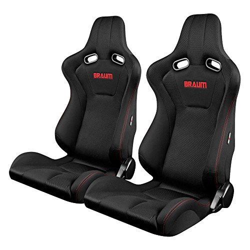 BRAUM - Black Fabric Mesh Mixed Universal Racing Seats w/ Red Stitches -Pair ()