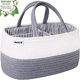 Baby Diaper Caddy Organizer - 100% Cotton Rope Nursery Diaper Storage Basket Diaper Storage Bin for Diaper Wipes Toys Nursery Essentials Baby Shower Gift and Newborn Registry