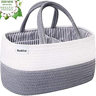 "Baby Diaper Caddy Organizer - 100% Cotton Rope Nursery Diaper Storage Basket Diaper Storage Bin for Diaper Wipes Toys Nursery Essentials Baby Shower Gift and Newborn Registry (14.2""x8.7""x7.1"")"