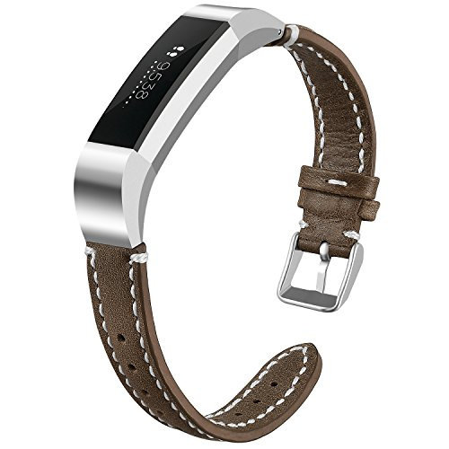 iHillon for Fitbit Alta (HR) Bands, Classic Soft Genuine Leather Strap for Fitbit Alta/Alta Hr Women Men Wristband, Light Brown