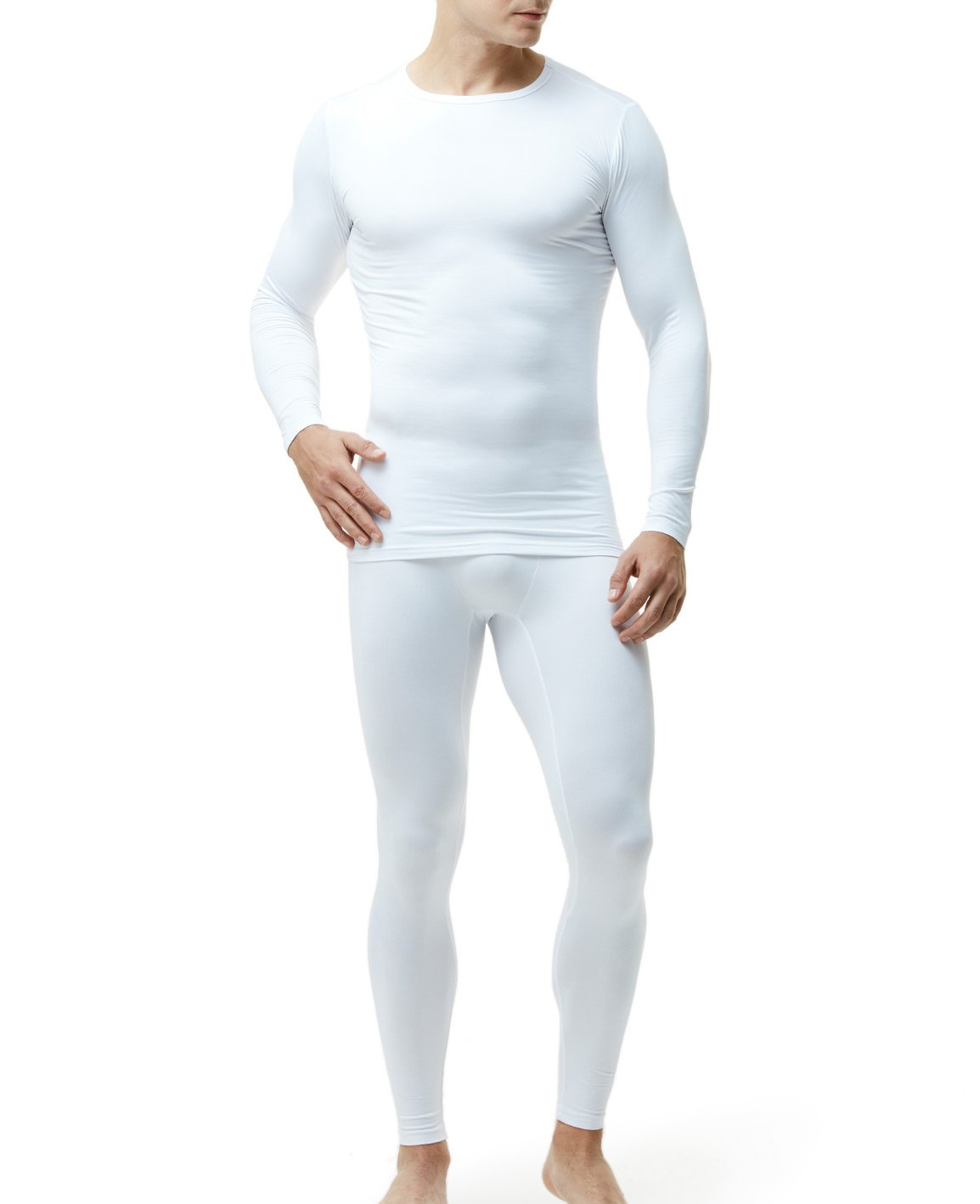 TSLA Blank Men's Microfiber Fleece Lined Top & Bottom Set, Thermal Fleece(mhs100) - White, XX-Large by TSLA