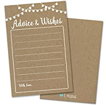 T Marie - 50 Rustic Kraft Wisdom Advice Cards for Weddings, Bridal Showers, Baby Showers, Graduation Parties, Retirement Parties and Party Games - Well Wishes and a Treasured Keepsake and Memory for Years to Come