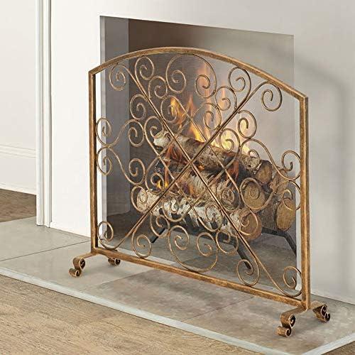 暖炉スクリーン ウッドバーニングストーブ用大型フラットガード暖炉スクリーンアイアンインテリア、屋内/屋外の無料立ち錬鉄の装飾メッシュカバー、