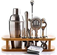 Cocktail Shaker Set with Bamboo Stand - 12 Piece Bar Shaker Set Perfect for the Home - Cocktail Kit Includes M