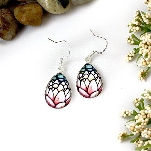 Pink Lotus Flower Glass Teardrop Earrings