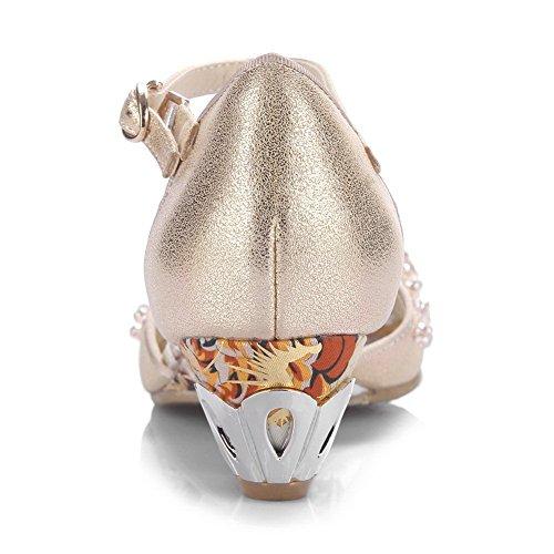 BalaMasa Ladies Unique Platform Kitten-Heels Soft Material Sandals Gold FRt2uG4