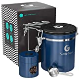 Coffee Gator Stainless Steel Container - Fresher Beans and Grounds for Longer - Canister with Date Tracker, CO2-Release Valve, Measuring Scoop and Travel Jar - Medium - Blue