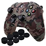 Cheap YoRHa Water Transfer Printing Camouflage Silicone Cover Skin Case for Microsoft Xbox One X & Xbox One S controller x 1(desert) With PRO thumb grips x 8