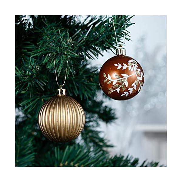 Valery Madelyn Palle di Natale 9 Pezzi 6cm Palline di Natale, Rame da Bosco e Oro Infrangibile Palla di Natale Ornamenti Decorazione per la Decorazione Dell'Albero di Natale 5 spesavip