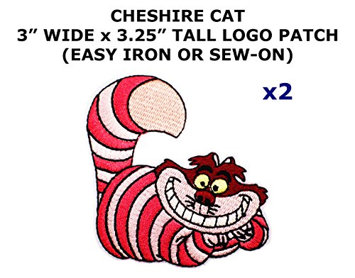 2 PCS Cheshire Cat Alice in Wonderland Cartoon Theme DIY Iron / Sew-on Decorative Applique Patches