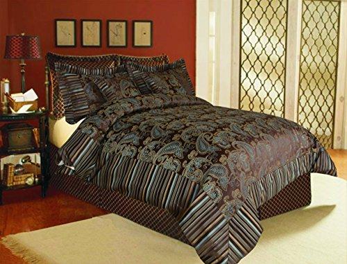 Fancy Foliage 20 Piece (Tache 6 Piece Paisley Dark Brown Eastern Spring Chenille Comforter Set with Zipper, California King)