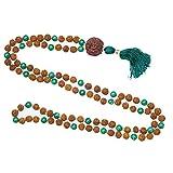 Love Heart Chakra Stone Mala- Green Jade Prayer Beads Rudraksha Buddhist Spiritual Neklace