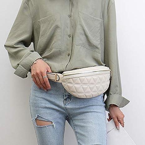 Blanc, 24x9x14 cm Sac Banane pour Femme Petit Cuir PU El/égant Mode Fanny Pack Sac Poitrine Outdoor Sport