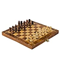 Rusticity Wood Magnetic Chess Set with Folding Board and Chess Pieces | Handmade | (7x7 in)