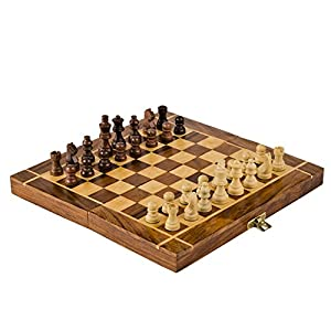 Rusticity Wood Magnetic Chess Set with Folding Board and Chess Pieces | Handmade | (12x12 in)