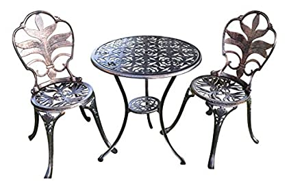 Antiqued Bronze Garden Bistro Set   Table And Two Chairs For Yard, 3 Pieces  Product