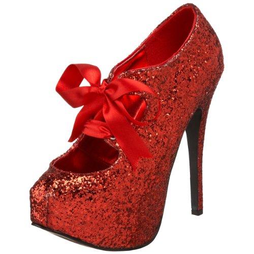 Bordello by Pleaser Women's Teeze 10 Glitter Platform Pump,Red Glitter,9 M US -
