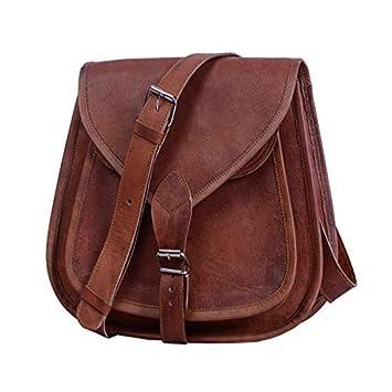 Bolsa de cuero Bolsos Bandolera Cuero Piel Cartera Bolsa de mensajero Vintage color marrón