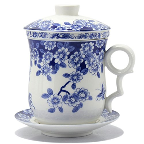 Cup And Saucer Flowers (BandTie Convenient Travel Office Loose Leaf Tea Brewing System-Chinese Jingdezhen Blue and White Porcelain Tea Cup Infuser 4-Piece Set with Tea Cup Lid and Saucer (Butterfly Flower Pattern))