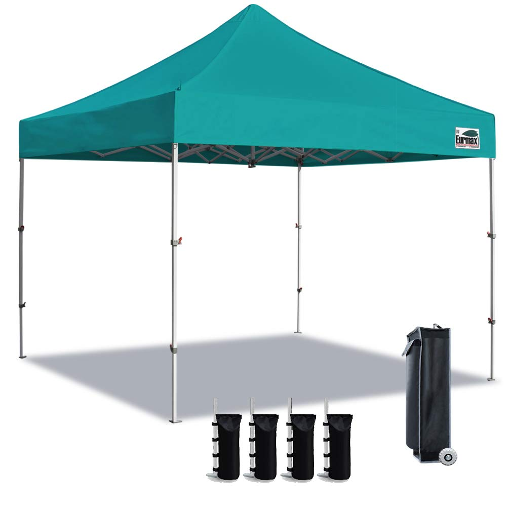 Eurmax Canopy Tent Instant Easy Transport 10×10 Ez Pop Up Canopy 4 Height Foldable Canopy Tent with Roller Bag Bonus 4 Pack of Sand Weight Bag Turquoise
