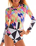 Funnygirl Women's Fashion Printing Rashguard Long Sleeve Zip UV Protection Print Surfing Swimsuit Swimwear Bathing Suits Colorful Small