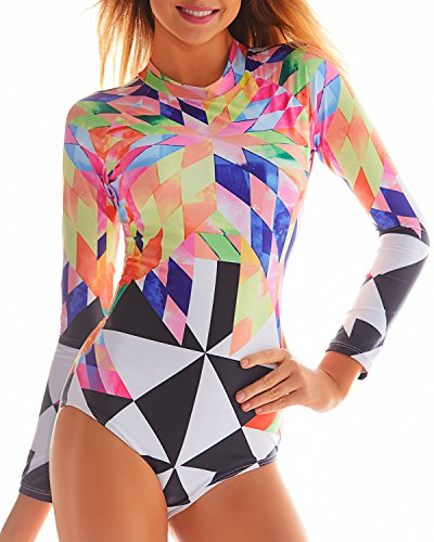 Funnygirl Women's Fashion Printing Rashguard Long Sleeve Zip UV Protection Print Surfing Swimsuit Swimwear Bathing Suits Colorful Small by Funnygirl