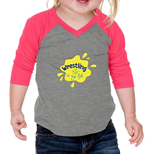 Cute Rascals Wrestling is My Life Sport Infants 60/40 Cotton/Polyester Jersey Shirt - Gray Hot Pink, 12 Months by Cute Rascals