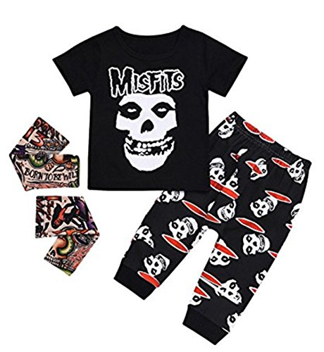 LOTUCY Baby Boy Girl Halloween Skull Bone Print T-Shirt Tops Long Pants Outfit Set Size 18-24 Months/Tag100 (Black) by LOTUCY