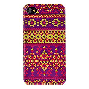 Flower Style Triangles Pattern Transparent Frame Hard Case for iPhone 4/4S