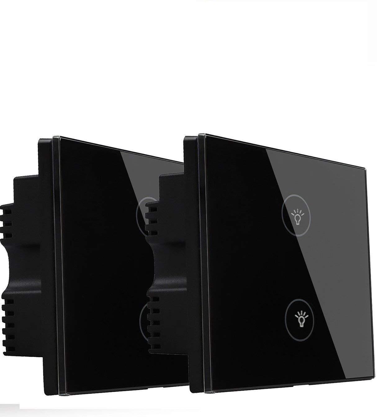 schwarz Kidult Smart-Schalttafel Glas Google Home WLAN iOS-//Android-Apps unterst/ützt  Alexa Touch-Schalter