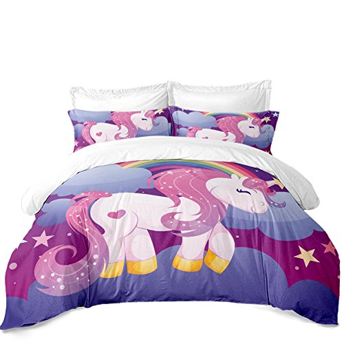 Jessy Home Unicorn Bedding Queen for Girls Cartoon 3D Duvet Cover Set 3 Pieces Purple 2 Pillowcase