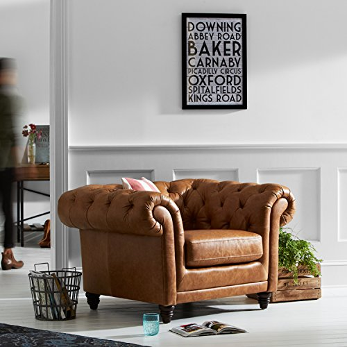 "Stone & Beam Bradbury Chesterfield Tufted Accent Chair, 50""W, Cognac"