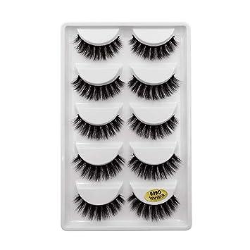 ad902530ebd Amazon.com : 5 Pairs Chemical Fiber Thick Fake Eyelashes Handmade Nature False  Lashes (G600) : Beauty