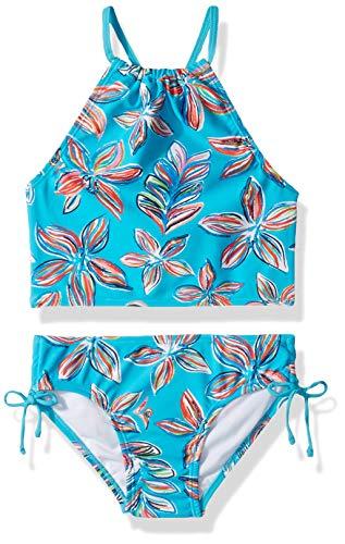 Kanu Surf Little Girls' Daisy Beach Sport Halter Tankini 2-Piece Swimsuit, Charlotte Floral Aqua, 6X